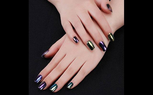 Nail Bar Bali Chrome Effect Nail Design